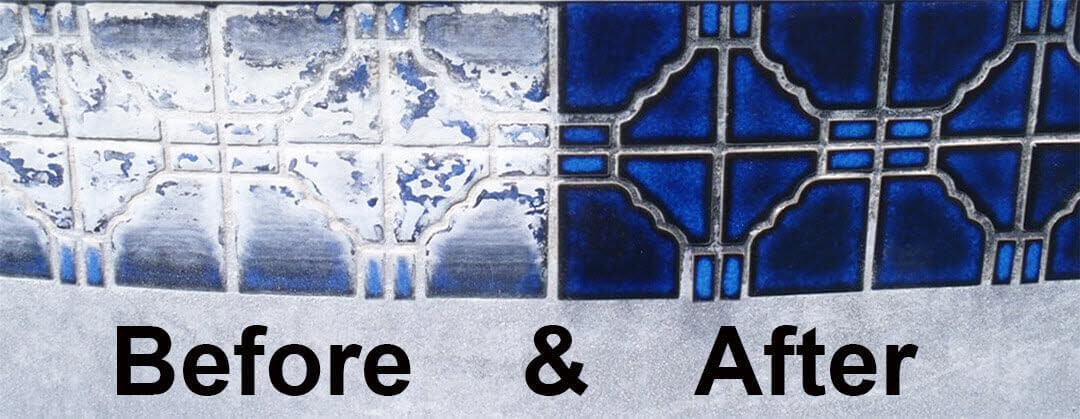 Calcium tile problem water stain cleaning repair before after