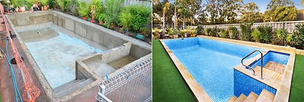 Swimming Pool painter melbourne tiler renovations coping resurfacing Pebble lining repairs paving landscaper