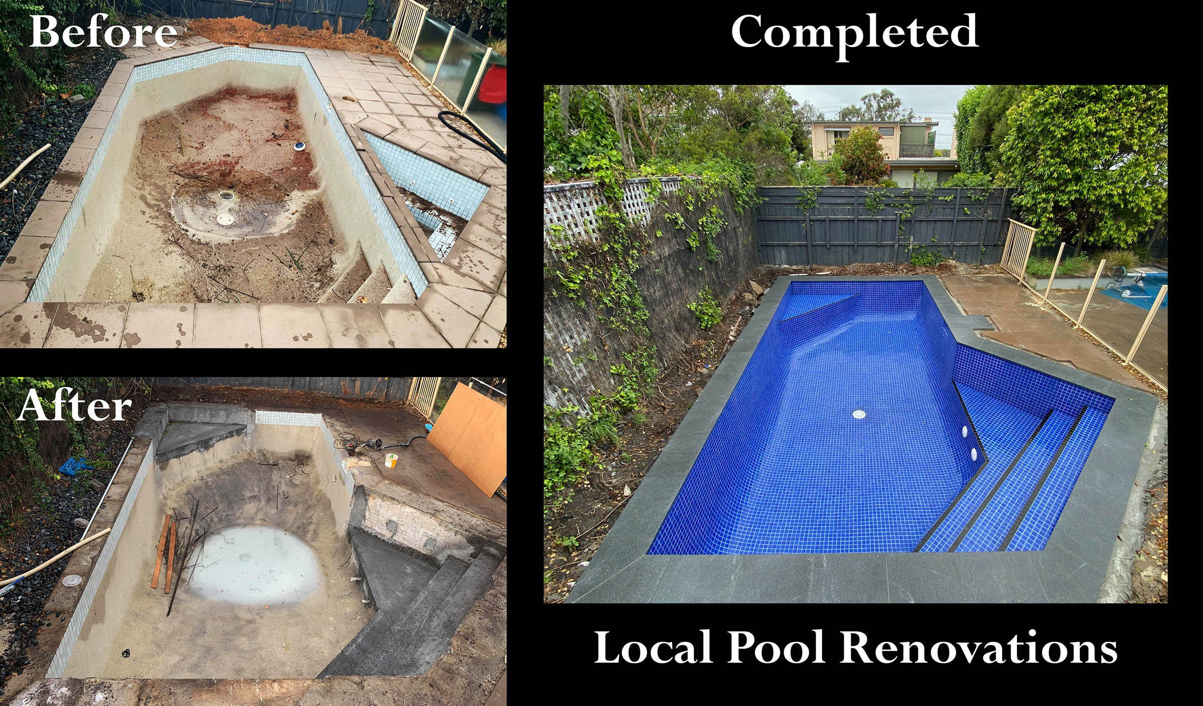 Pool Shape Change fully tiled Melbourne