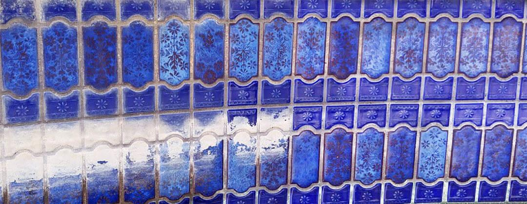 Pool tile cleaning ceramic mosaics calcium water stain