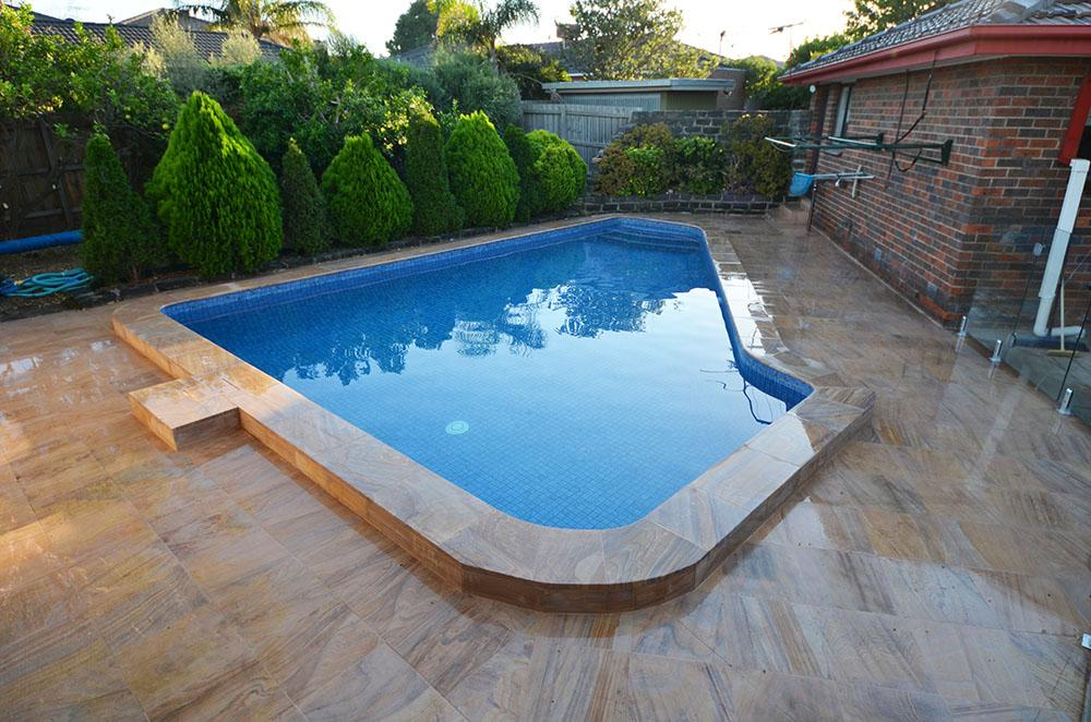 Completed restoration tiled swimming pool