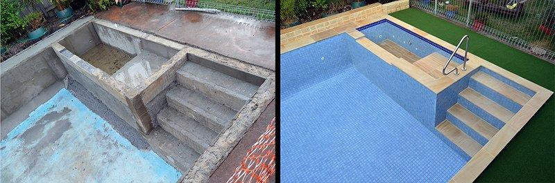 Fully tiled pool sandstone pavers before and after